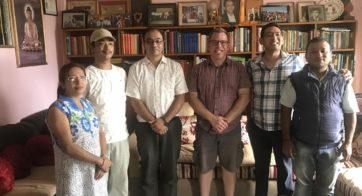 From left to right: Rashmi Shakya, Nabin Bajracharya (Scanning Technician), Milan Shakya (NIBS Managing Director), Travis DeTour, Miroj Shakya (Director of NIBS), Tejendra Shakya