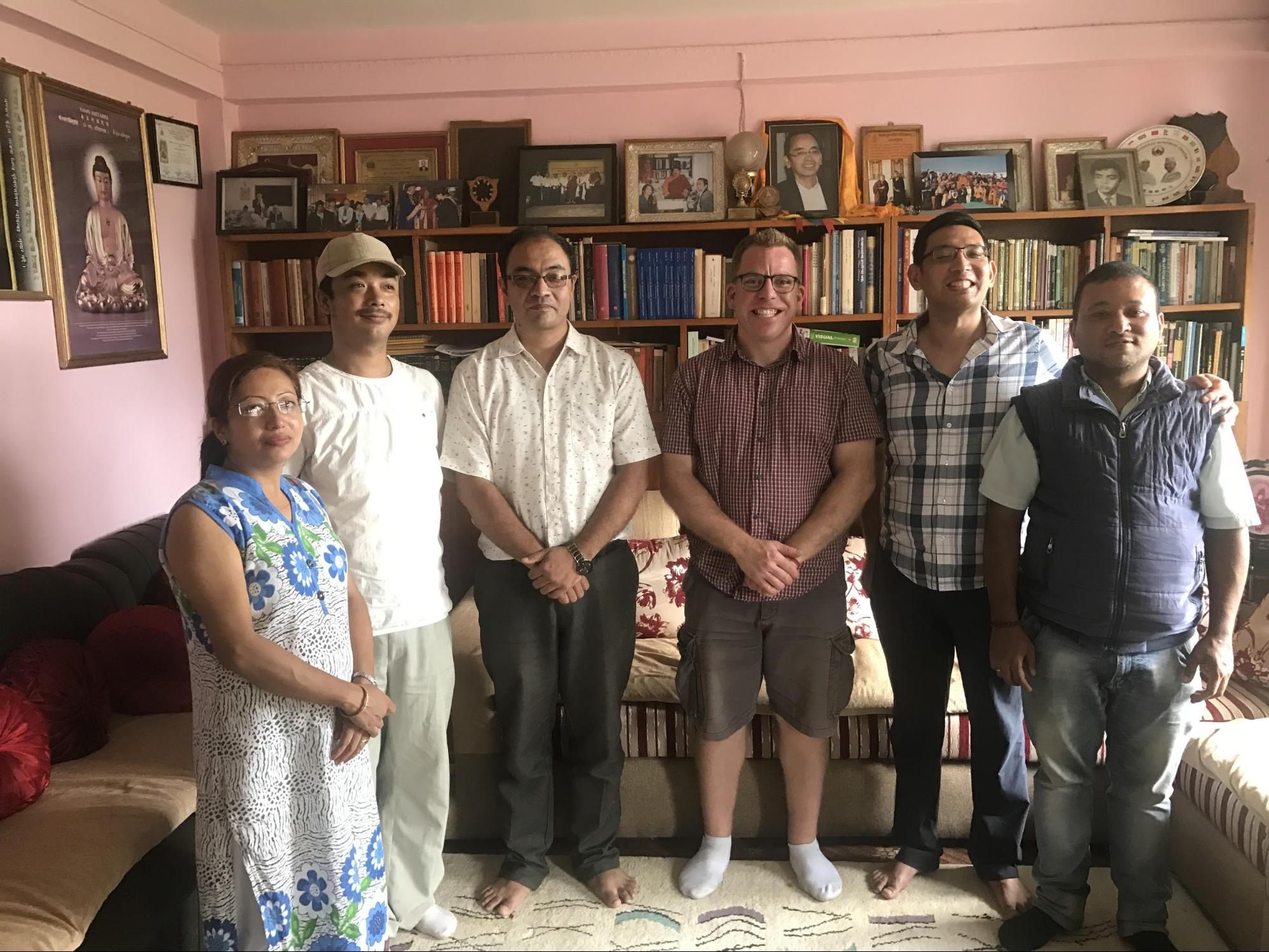 From left to right: Rashmi Shakya, Nabin Bajracharya (Scanning Technician), Milan Shakya (NIBS Managing Director), Travis DeTour, Miroj Shakya (Director of NIBS), Tejendra Shakya