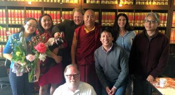 Venerable Khenchen Konchog Gyaltsen Rinpoche with TBRC staff
