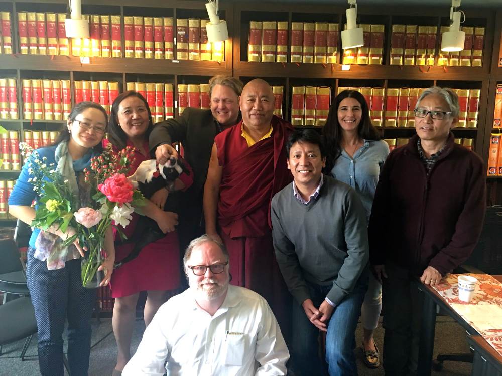 Venerable Khenchen Konchog Gyaltsen Rinpoche with TBRC staff