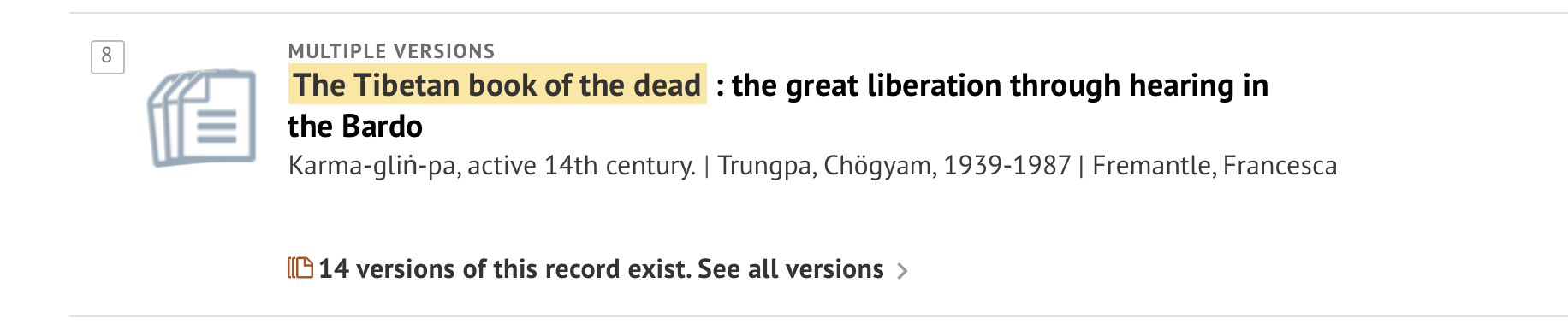 Oxford University's search results for Book of the Dead